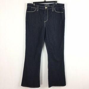 NYDJ Premium Jeans Denim Dark Blue Gold Threads